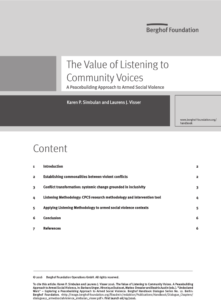 The Value of Listening to Community Voices: A Peacebuilding Approach to Armed Social Violence