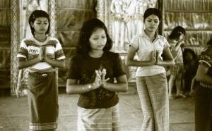 Learning the traditional Khmer Blessing dance in the refugee camps (Hostetter, 1980)